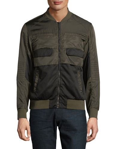 Highline Collective Two-Tone Bomber Jacket-GREEN-Large