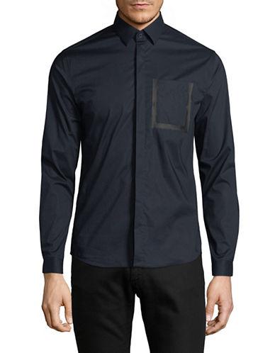 H Halston Casual Sportshirt-BLUE-X-Large