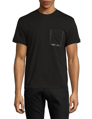H Halston Taped Pocket T-Shirt-BLACK-XX-Large