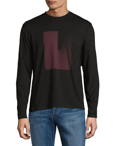 H Halston Long Sleeve Digital Print T-Shirt-BLACK-Large