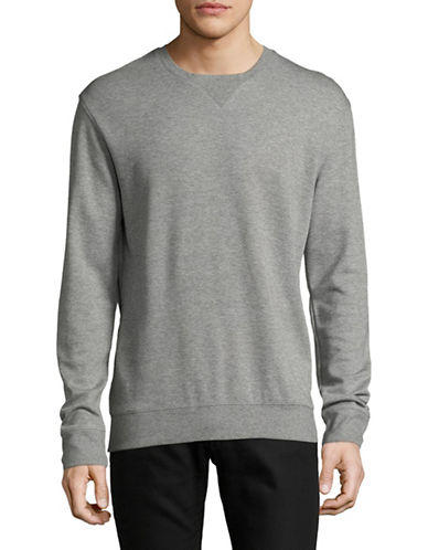 H Halston Heathered Sweatshirt-GREY-Large