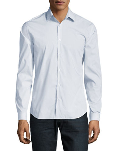 H Halston Signature Cotton Sport Shirt-BLUE-X-Large