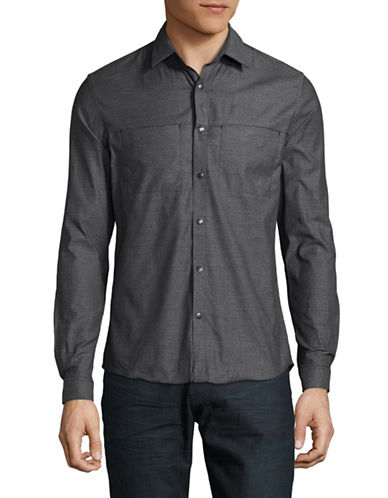 H Halston Snap Front Cotton Sport Shirt-BLACK-X-Large