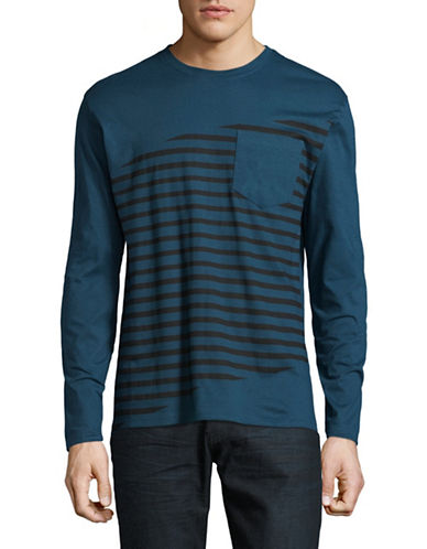 Highline Collective Angled Stripe Cotton Tee-BLUE-X-Large