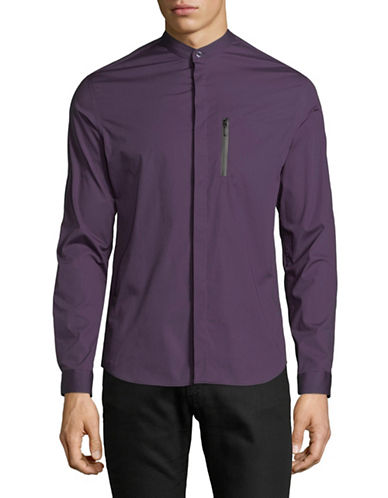 Highline Collective Band Collar Sportshirt-PURPLE-Large