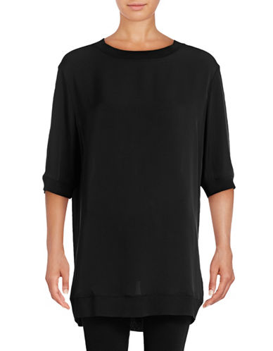 Vince Ribbed Trim Silk Tunic-BLACK-X-Small 88871656_BLACK_X-Small