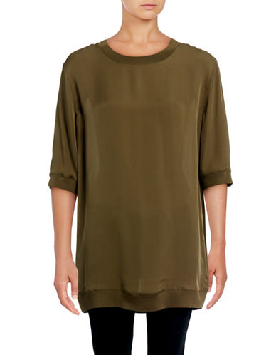 Vince Ribbed Trim Silk Tunic-GREEN-Small 88871661_GREEN_Small