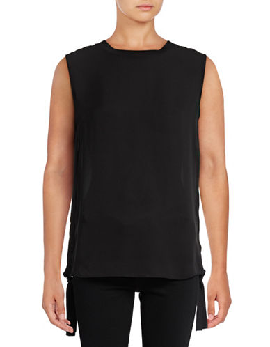 Vince Ruched Rib Silk Tank-BLACK-2