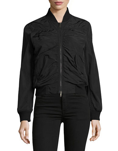 Vince Washed Shrunken Bomber Jacket-BLACK-Medium