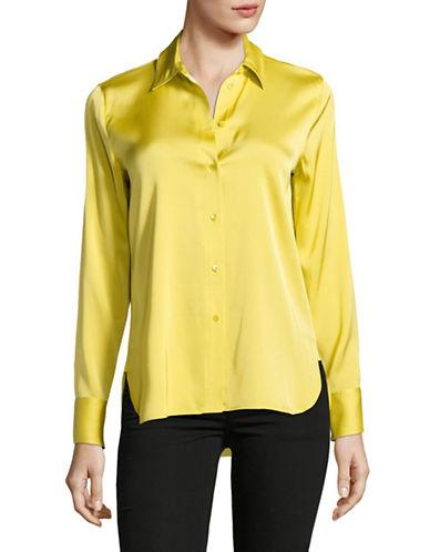 Vince Silk-Blend Slim Fitted Blouse-YELLOW-Large