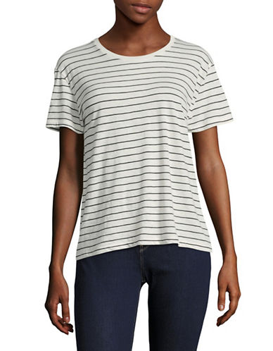 Vince Striped Relaxed T-Shirt-WHITE-Small 89124694_WHITE_Small