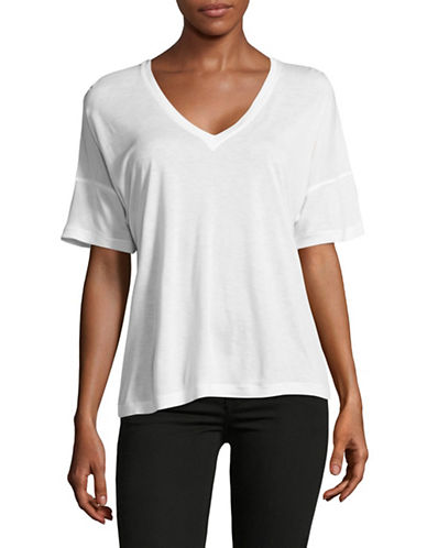 Vince Drop Shoulder V-Neck T-Shirt-WHITE-X-Small 89029834_WHITE_X-Small