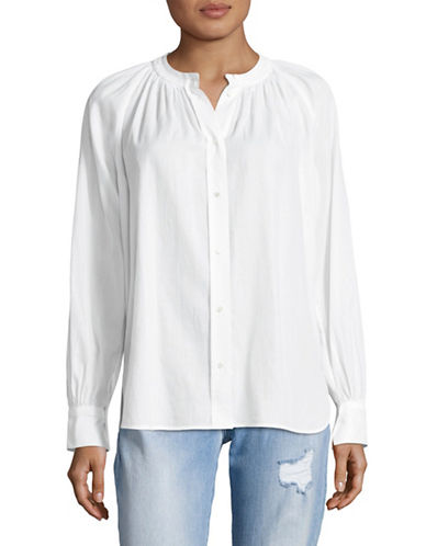 Vince Shirred Neck Blouse-WHITE-Small