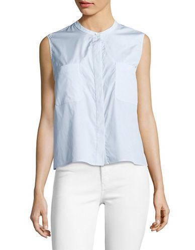 Vince Cropped Sleeveless Shirt-BLUE-Large