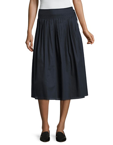 Vince Stitch Pleated A-line Skirt-BLUE-Medium