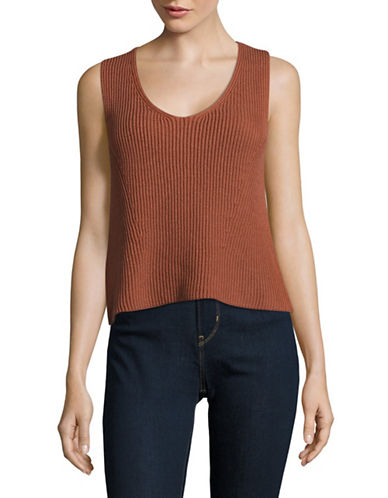 Vince Cotton Rib Tank Top-COPPER-Large