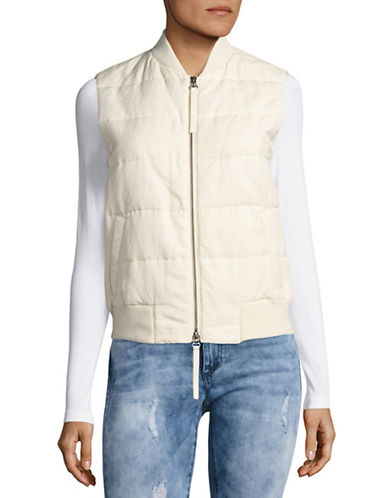 Vince Linen-Blend Quilted Vest-NATURAL-Small