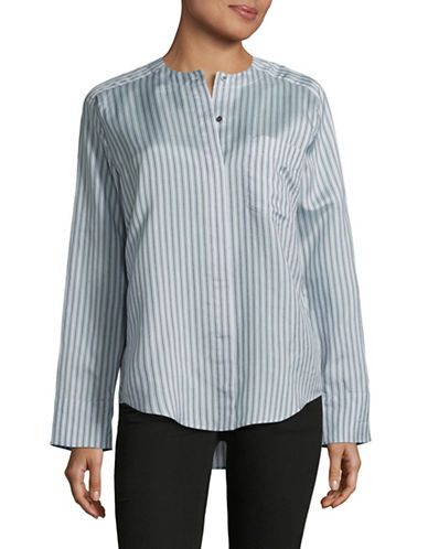 Vince Stripe Tunic Shirt-BLUE-Small