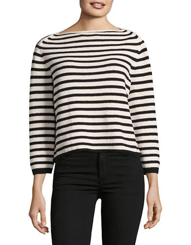 Vince Stripe-Stitch Boat Neck Pullover-WHITE-Small 89194827_WHITE_Small