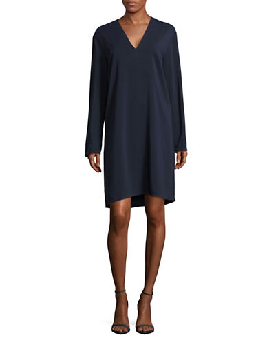 Vince V-Neck Tunic Dress-BLUE-Large