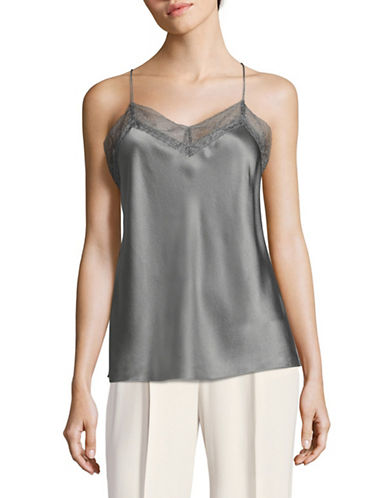 Vince Lace and Silk Camisole-GREY-X-Small