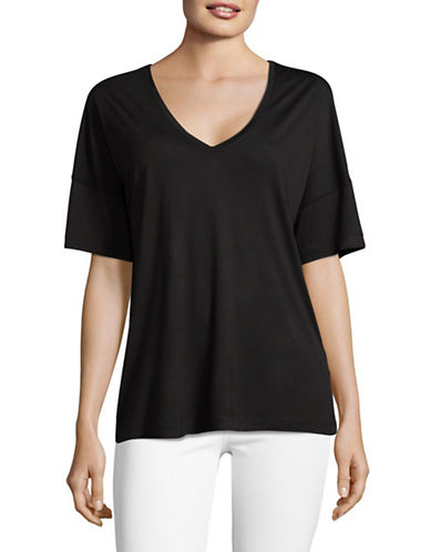 Vince Stretch V-Neck Tee-BLACK-X-Small 89301734_BLACK_X-Small