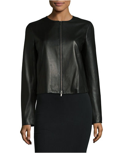 Vince Collarless Leather Zip Jacket-BLACK-Small