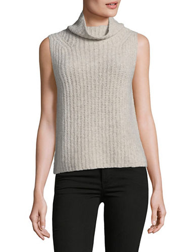 Vince Cashmere Blend Sleeveless Turtleneck-BEIGE-Small