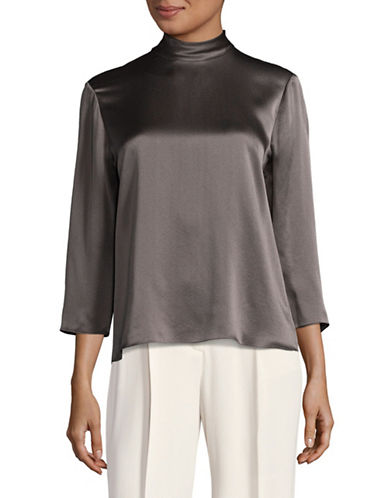 Vince Silk Mock Neck Blouse-GREY-Small