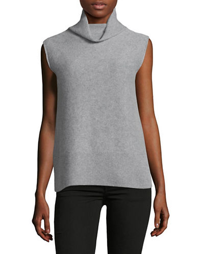Vince Sleeveless Cashmere Turtleneck-GREY-X-Small
