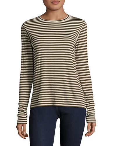 Vince Silk-Blend Striped Long Sleeve Tee-OLIVE MULTI-Small