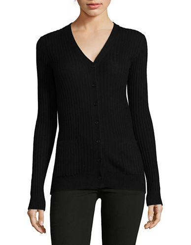 Vince Ribbed Skinny Cashmere Cardigan-BLACK-Medium