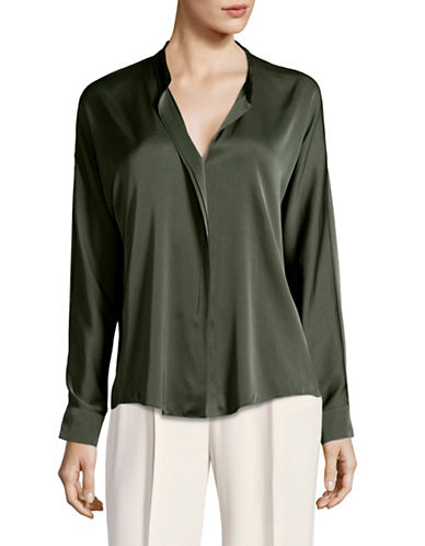Vince Double Front Silk-Blend Blouse-GREEN-0