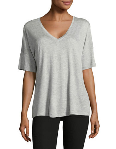 Vince Stretch V-Neck Tee-GREY-Small