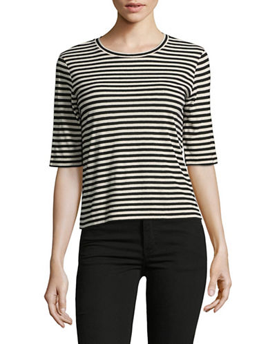 Vince Silk-Blend Striped Crop Tee-NATURAL/BLUE-Small