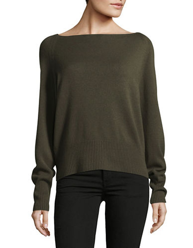 Vince Boat Neck Cashmere Sweater-OLIVE-Large