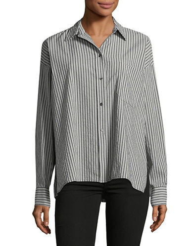 Vince Striped Boxy-Fit Shirt-BLACK/GREY-X-Small