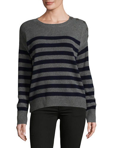 Vince Shoulder-Button Cashmere Sweater-GREY MULTI-Medium