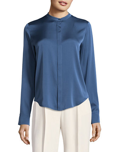 Vince Stretch Silk Blouse-BLUE-2