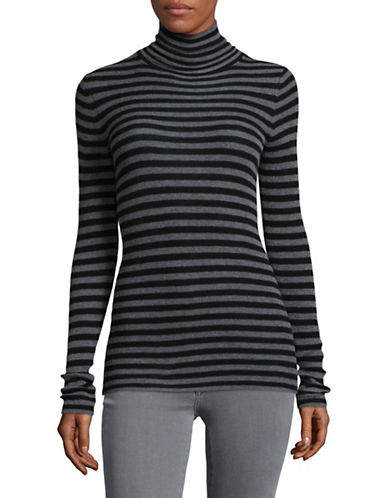 Vince Striped Skinny Cashmere Sweater-GREY-Small
