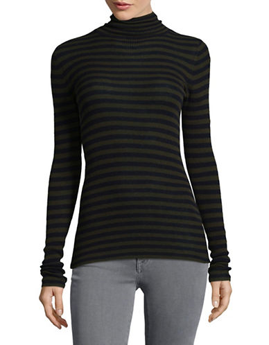 Vince Striped Skinny Cashmere Sweater-GREEN-Large