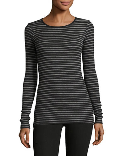 Vince Double Stripe Pullover-BLACK-X-Small