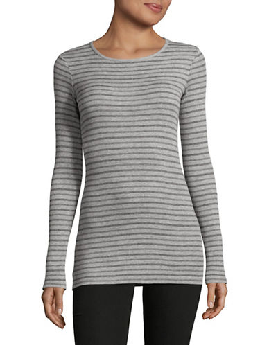 Vince Double Stripe Pullover-GREY-Large