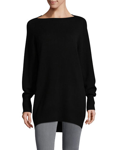 Vince Boat Neck Wool-Cashmere Sweater Tunic-BLACK-X-Small