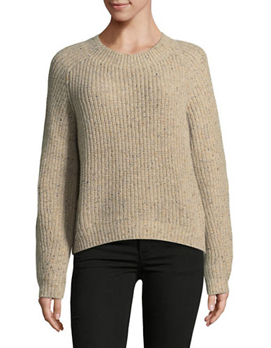 Vince Cropped Saddle Cashmere Pullover-WHITE-Small