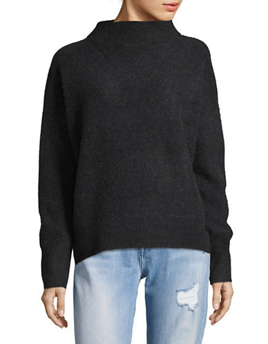 Vince Funnel Neck Cashmere Pullover-GREY-Small