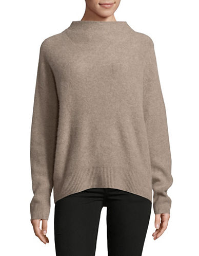 Vince Funnel Neck Cashmere Pullover-BEIGE-Small