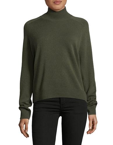 Vince Saddle Turtleneck Cashmere Sweater-GREEN-Large