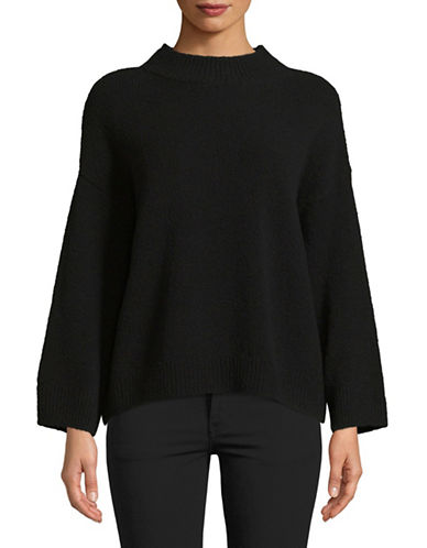 Vince Boxy Wool-Blend Pullover-BLACK-Large