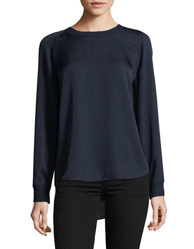 Vince Long Sleeve Silk Blouse-BLUE-Large